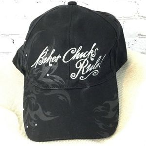 Baseball Cap Hat Biker Chick Rules Outlaw Ink Blac